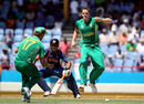 AB de Villiers swoops in to field the ball as Morne Morkel and Suresh Raina look on, South Africa v India, World Twenty20, Beausejour, Gros Islet, St Lucia May 2, 2010