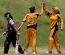 Sarah Elliott and Alyssa Healy are relieved to see the back of Suzie Bates, Australia Women v New Zealand Women, Molyneaux, May 2, 2010