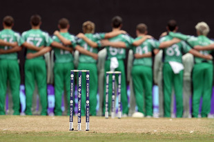 Ireland's cricketers line up for the national anthem, England v Ireland, World Twenty20, Guyana, May 4, 2010