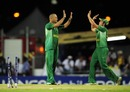 Charl Langeveldt celebrates having bowled Mirwais Ashraf, Afghanistan v South Africa, ICC World Twenty20, Bridgetown, May 5, 2010