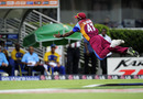 Dwayne Bravo flies through the air to try and stop the ball, West Indies v Sri Lanka, Super Eights, ICC World Twenty20, Bridgetown, May 7, 2010