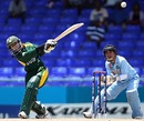 Urooj Mumtaz swings one over midwicket, India women v Pakistan women, ICC Women's World Twenty20, Group B, St Kitts, May 8, 2010