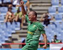 Charl Langeveldt celebrates one of his four wickets