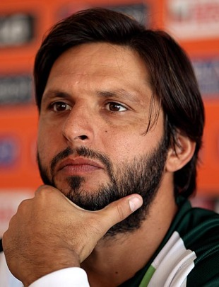 Shahid Afridi at a press conference on the eve of Pakistan's semi-final against Australia, ICC World Twenty20 2010, St Lucia, May 13, 2010