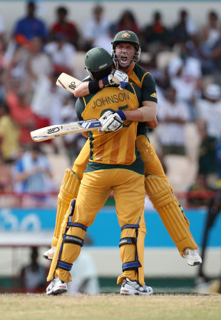 Michael Hussey is ecstatic after completing a miracle chase, Australia v Pakistan, 2nd semi-final, ICC World Twenty20, St Lucia, May 14, 2010