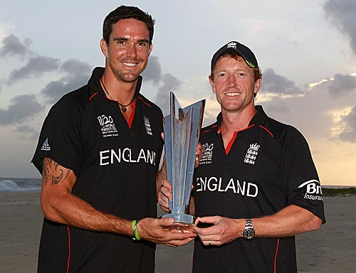 The Player of the Tournament Kevin Pietersen and England's winning captain Paul Collingwood with the ICC World Twenty20 trophy