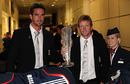 Kevin Pietersen and Paul Collingwood arrive back at Gatwick Airport with the World Twenty20 trophy in their hand luggage