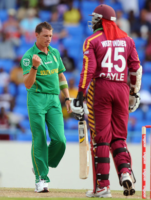 Dale Steyn saw the back of Chris Gayle in his first over, West Indies v South Africa, 2nd T20, Antigua, May 20, 2010