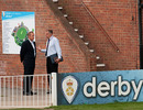 Andy Flower chats with England's chief selector Geoff Miller, Derby, May 20, 2010