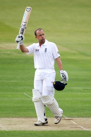 Jonathan Trott raised his bat as he went past 150 to his highest score in Test cricket, England v Bangladesh, 1st Test, Lord's, May 27, 2010