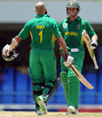 Hashim Amla is congratulated by AB de Villiers, West Indies v South Africa, 1st ODI, Antigua, May 22, 2010