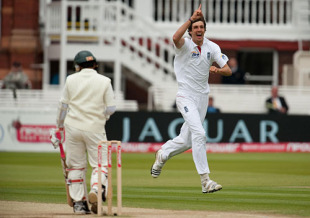 There was plenty for Steven Finn to celebrate as he finished with nine wickets in the match, England v Bangladesh, 1st Test, Lord's, May 31, 2010