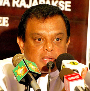 Sri Lanka's sports minister Chandrasiri Bandara Ratnayake speaks to the media, Colombo, May 31, 2010