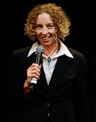 Haidee Tiffen talks during the World Cup 2009 welcome ceremony, Sydney, March 5, 2009