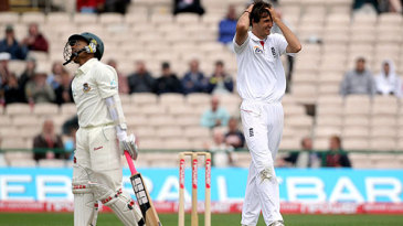 Mushfiqur Rahim is aghast and Steven Finn embarrassed after a tame dismissal at midwicket