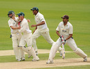 Leicestershire celebrate the dismissal of Usman Afzaal as Surrey slumped towards defeat, Surrey v Leicestershire, County Championship Division Two, The Oval, June 6, 2010