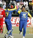 Tillakaratne Dilshan gets the wicket of Chamu Chibhabha, Zimbabwe v Sri Lanka, Tri-Series, 6th match, Harare, June 7, 2010