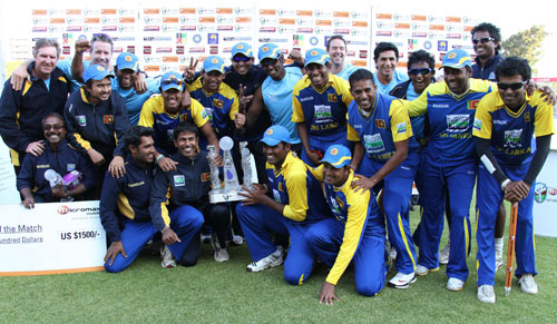 The victorious Sri Lankan team with the title