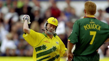 Steve Waugh celebrates leading his team into the semi-finals