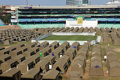 Australian football fans camp at Kingsmead