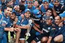 The Indians celebrate after bagging the Twenty20 trophy