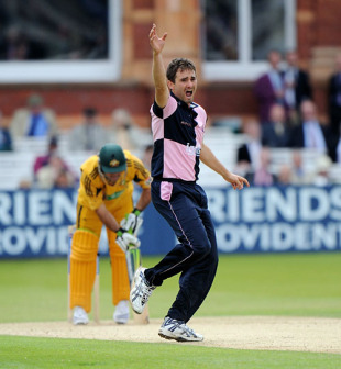 Tim Murtagh appeals successfully for the crucial wicket of Ricky Ponting as Middlesex took control, Middlesex v Australians, Tour Match, Lord's, June 19, 2010