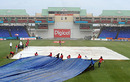 The covers are on at Warner Park, West Indies v South Africa, 2nd Test, St Kitts, 4th day, June 21, 2010
