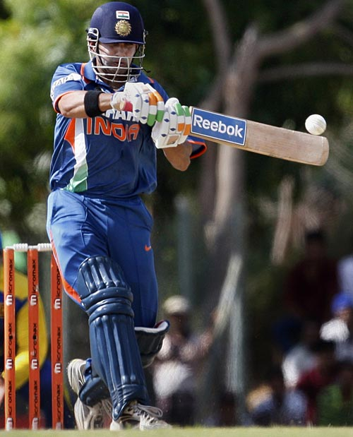 Gautam Gambhir  lines up to pull the ball