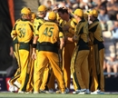 Josh Hazlewood was mobbed by his teammates after taking his first international wicket for Australia at the age of 19, England v Australia, 1st ODI, Rose Bowl, June 22, 2010