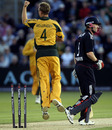 Doug Bollinger celebrates bowling Paul Collingwoood, England v Australia, 2nd ODI, Cardiff, June 24, 2010