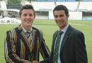 Loughborough captain Alan Cope and Durham skipper Seren Waters shake hands before the  MCC Universities final. Waters went on to score a hundred as Durham won. Both captains are former pupils of Cranleigh School, Lord's, June 25, 2010