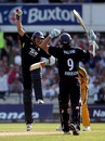 Tim Bresnan and James Anderson jump for joy after completing victory, England v Australia, 3rd ODI, Old Trafford, June 27, 2010