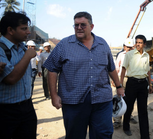 Andy Atkinson oversees renovation work at the Wankhede Stadium, Mumbai, February 16, 2010