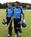 Ross Lyons and Gordon Drummond walk back after sealing a thrilling win, Netherlands v Scotland, ICC World Cricket League Division One, Amstelveen, July 1, 2010