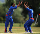 Khaliq Dad celebrates one of his three wickets, Netherlands v Afghanistan, ICC WCL Division 1, Voorburg, July 7, 2010