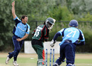 Gordon Drummond bowls Nelson Odhiambo to seal a narrow win, Kenya v Scotland, ICC WCL Division 1, Rotterdam, July 7, 2010