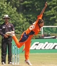 Netherlands' Bernard Loots bowling on his ODI debut