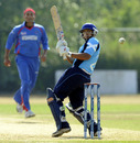 Scotland's Moneeb Iqbal steers the ball towards fine leg, Afghanistan v Scotland, ICC WCL Division 1, Rotterdam, July 9, 2010