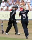 Maria Fahey was eventually prised out by Katherine Brunt, England v New Zealand, 1st ODI, Taunton, July 10, 2010