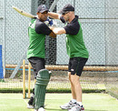 Jamie Siddons works on Faisal Hossain's technique, Edgbaston, July 11, 2010
