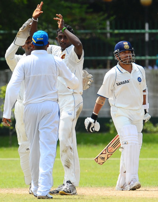 Ajantha Mendis troubled India's middle order including Sachin Tendulkar, Sri Lanka Board President's XI v Indians, 2nd day, Colombo, July 14, 2010