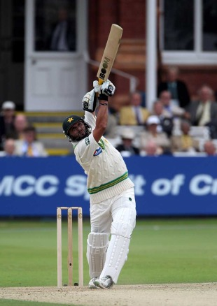 Shahid Afridi launches a straight six during his short onslaught, Pakistan v Australia, 1st Test, Lord's, July 14, 2010