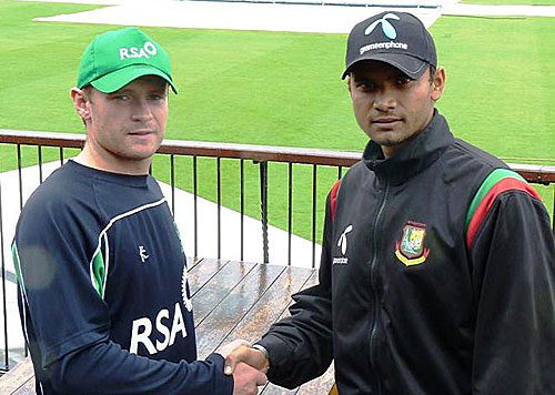 William Porterfield and Mashrafe Mortaza shake hands before the ODI series