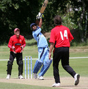 Eshkol Solomon goes over the top during his 120, Gibraltar v Israel, World Cricket League Europe Division Two, Guernsey, July 17, 2010