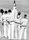 Malcolm Marshall celebrates a wicket, England v West Indies, 2nd Test, Lord's, 2nd day, June 17, 1988