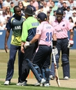 The umpire had to intervene in a spat between Maurice Chambers and David Warner, Essex v Middlesex, Friends Provident t20, Chelmsford, July 18, 2010