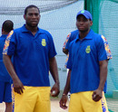 Barbados captain Ryan Hinds and his brother Jason go through nets at the Kensington Oval, Barbados, July 20, 2010
