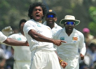 Lasith Malinga rattled India with three wickets on the fourth day, Sri Lanka v India, 1st Test, Galle, 4th day, July 21, 2010