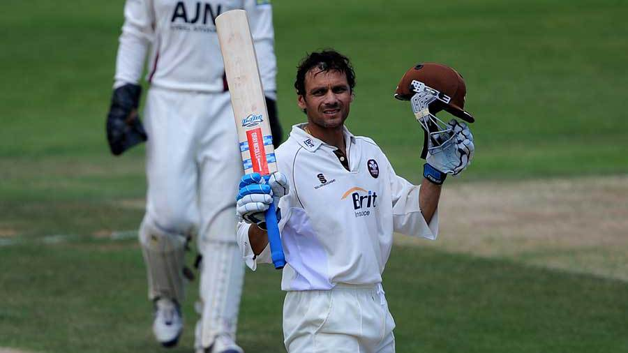 And another: Mark Ramprakash takes the applause after passing 200