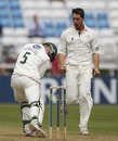Tim Groenewald celebrates after removing Alex Kervezee, Derbyshire v Worcestershire, County Championship Division Two, Derby, July 21, 2010
